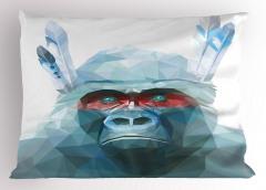 Mavi Kristal Maymun Yastık Kılıfı Dekoratif