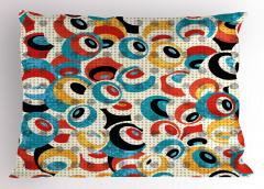 Modern Rengarenk Göz Yastık Kılıfı Beyaz Fonlu