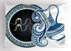 Kova Burcu Desenli Yastık Kılıfı Sarı Mavi Lacivert