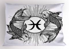 Balık Burcu Simge ve Yastık Kılıfı Siyah Beyaz