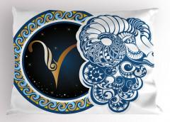 Koç Burcu Desenli Yastık Kılıfı Mavi Sarı ve Lacivert