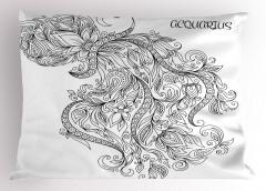 Şık Kova Burcu Desenli Yastık Kılıfı Siyah ve Beyaz