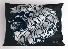 Çiçekli Aslan Burcu Yastık Kılıfı Lacivert
