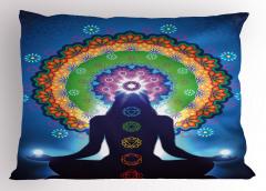 Meditasyon ve Çiçek Yastık Kılıfı Mavi Fonlu