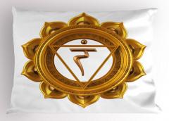 Hint Etkili Altın Lotus Yastık Kılıfı Beyaz
