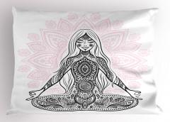 Meditasyon Pembe Lotus Yastık Kılıfı Beyaz