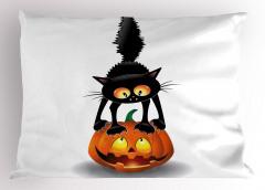 Kedi ve Bal Kabağı Yastık Kılıfı Turuncu Siyah