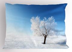Karlı Yalnız Ağaç Yastık Kılıfı Yalnız Ağaç Manzaralı Kış Mavi