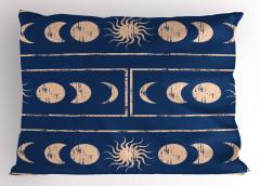 Güneş ve Ay Figürü Yastık Kılıfı Bej Şık Güneş ve Ay Figürleri