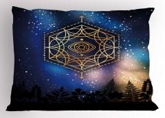 Yıldızlar ve Gökyüzü Yastık Kılıfı Siyah Mavi Şık Tasarım