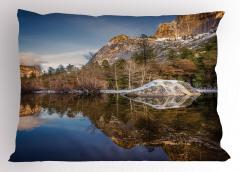 Göl Manzaralı Yastık Kılıfı Yeşil Mavi Dağ Ağaç Doğa