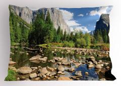 Göl Manzaralı Yastık Kılıfı Yeşil Ağaç Dağ Taş Bulut