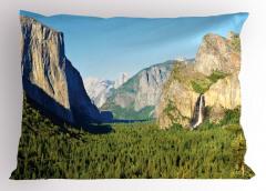 Doğa Temalı Yastık Kılıfı Şelale Dağ Orman Ağaç Yeşil