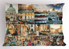 Venedik Desenli Yastık Kılıfı Kanal Gondol