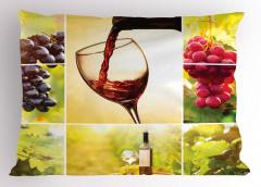 Üzüm ve Şarap Desenli Yastık Kılıfı Romantik Bağ Manzaralı