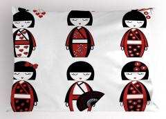 Japon Bebek Desenli Yastık Kılıfı Kırmızı Siyah Çiçek