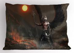Şeytan Desenli Yastık Kılıfı Gri Siyah Şövalye Kanat