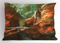 Kırmızı Kanyon Temalı Yastık Kılıfı Deniz Feneri Dağ