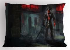 Cehennem Temalı Yastık Kılıfı Şeytan Siyah Kırmızı