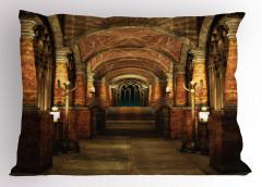 Antik Bina Temalı Yastık Kılıfı Kahverengi Merdiven