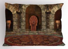 3D Etkili Yastık Kılıfı Gotik Antik Oda Kahverengi