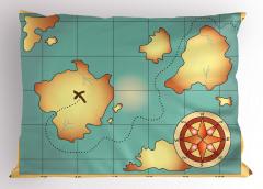 Hazine Haritası Temalı Yastık Kılıfı Antik Sarı Mavi