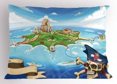 Korsan Adası Temalı Yastık Kılıfı Mavi Deniz Kuru Kafa