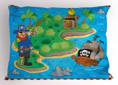 Harita Yastık Kılıfı Korsan Ada Hazine Kuş Mavi