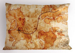Antik Temalı Yastık Kılıfı Hazine Haritası Desenli Bej
