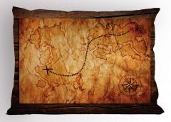 Hazine Haritası Temalı Yastık Kılıfı Kahverengi Antik