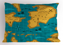 Macera Haritası Temalı Yastık Kılıfı Mavi Sarı Deniz