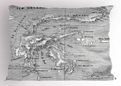Nostaljik Harita Yastık Kılıfı Antik Gri Deniz