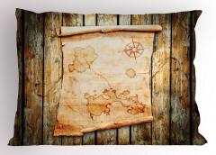Antik Harita Desenli Yastık Kılıfı Kahverengi Ahşap