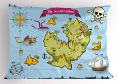 Hazine Haritası Temalı Yastık Kılıfı Mavi Yeşil Deniz