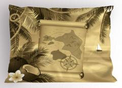 Egzotik Ada Temalı Yastık Kılıfı Hindistan Cevizi