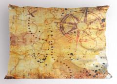 Antik Harita Desenli Yastık Kılıfı Sarı Nostaljik