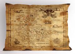 Korsan Haritası Temalı Yastık Kılıfı Kahverengi Hazine