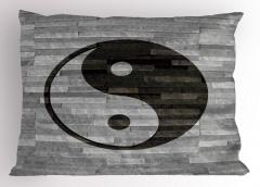 Duvardaki Yin Yang Yastık Kılıfı Asya Kültür Gri Siyah