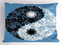 Şık Çiçekli Yin Yang Yastık Kılıfı Mavi Beyaz