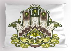 Büyük Fatımanın Eli Yastık Kılıfı Yeşil Mor