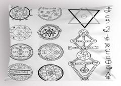 Mistik Pentagram Yastık Kılıfı Beyaz
