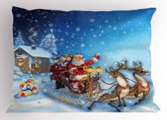 Noel Baba ve Geyik Yastık Kılıfı Kış Temalı