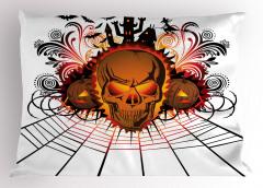 Cadılar Bayramı Temalı Yastık Kılıfı Yarasa Kuru Kafa