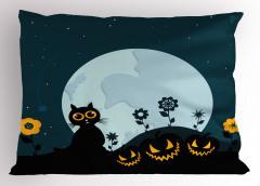 Kedi ve Ay Desenli Yastık Kılıfı Cadılar Bayramı Siyah