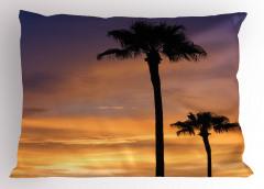 Ağaçlar ve Gün Batımı Yastık Kılıfı Turuncu Mor