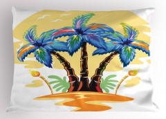 Palmiye Desenli Yastık Kılıfı Palmiye Turuncu