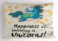 Unicorn Desenli Yastık Kılıfı Mavi Bej Sarı Trend
