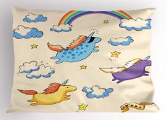 Masal Temalı Yastık Kılıfı Unicorn Gökkuşağı Mavi