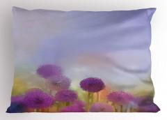 Mor Çiçekli Yastık Kılıfı Şık Tasarım Mavi