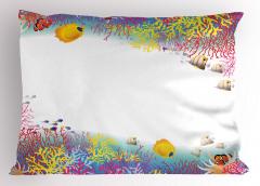 Tropik Balıklar Desenli Yastık Kılıfı Okyanus Altı Sevimli Balık